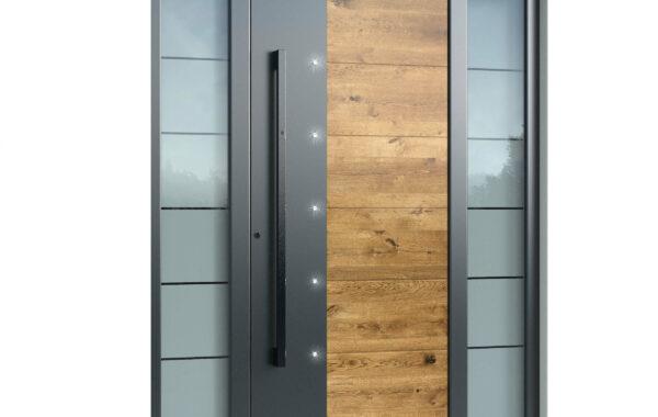 Pirnar-alu-eingangstuer-optimum-carbon-core-7200-eckig-nero-aussengriff-holz-dekor-eiche-astig