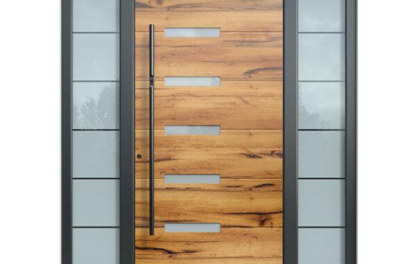 Pirnar-alu-eingangstuer-optimum-carbon-core-7270-holz-dekor-eiche-dunkel-satinato-glas