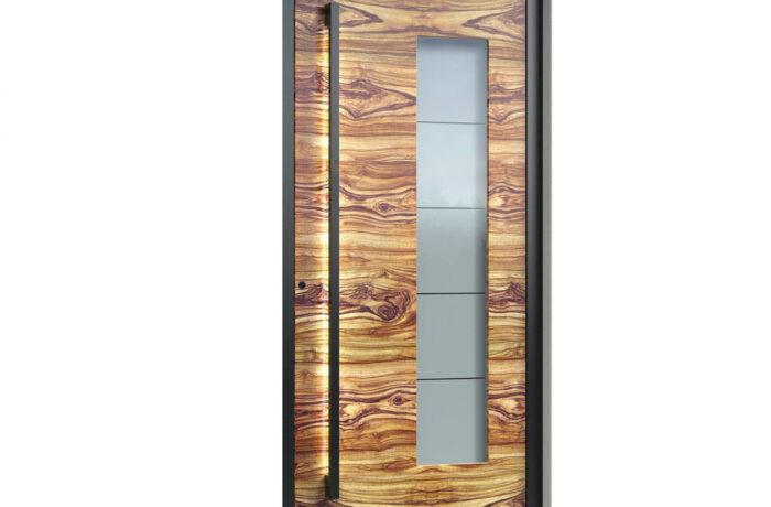 Pirnar-alu-eingangstuer-optimum-carbon-core-7480-holz-dekor-olive-eckig-nero-aussengriff