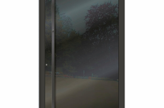 Pirnar-alu-eingangstuer-optimum-carbon-core-7510-esg-glas-night-sky-gloss-eckig-nero-aussengriff-1