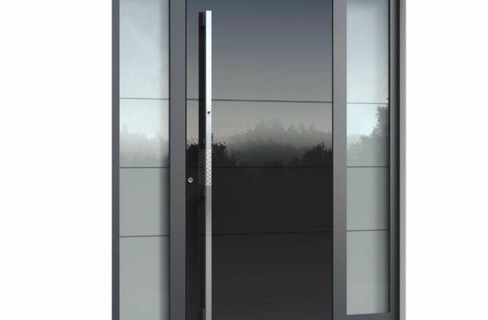 Pirnar-alu-eingangstuer-premium-6009-eckig-aussengriff-magmalux-esg-glas-night-sky-gloss