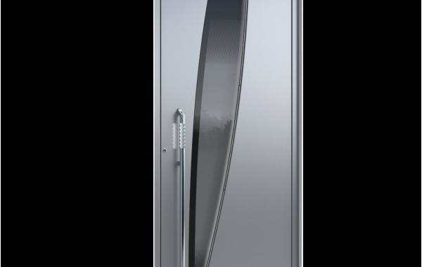 Pirnar-alu-eingangstuer-ultimum-multilevel-529-esg-glas-dark-grey-mit-schwarzem-motiv